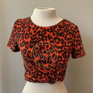 Michael Kors Orange and Black Cheetah Print Top
